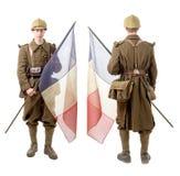 französischer Soldat 40s mit einer Flagge, einer Rückseite und einer Vorderansicht, an lokalisiert Lizenzfreie Stockbilder
