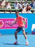 Französischer Tennisspieler Gilles Simon, der für die Australian Open sich vorbereitet lizenzfreie stockfotografie