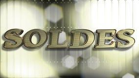 Französischer Text des Verkaufs-Gold3d stockfotografie