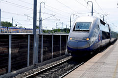 Französischer TGV Zug Alstoms an der Plattform Lizenzfreie Stockfotografie