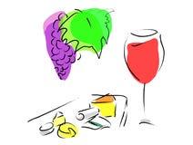 Französischer Wein und Käseplatte Lizenzfreie Stockbilder