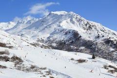 Französisches Alpenski fahren Stockfotografie