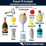 Französisches Cocktail 75 Infographic stellte von lokalisierten Elementen auf wei?em Hintergrund ein vektor abbildung