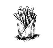 Französisches frie Handzeichnen schwarz-weiß auf Hintergrund Lizenzfreie Stockfotografie
