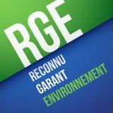 Französisches Gütezeichen: RGE, Reconnu Garant Environnement Übersetzung: RGE, anerkannter Bürge der Umwelt Lizenzfreie Stockfotografie