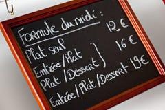 Französisches Menü Stockfotos