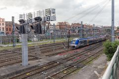 Französisches nationales Bahnnetz in Toulouse Stockbilder