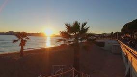 Französisches Riviera bei Sonnenuntergang stock footage