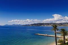 Französisches Riviera-Küstenlinie, blaue Küste und Palmen Lizenzfreie Stockbilder