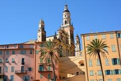 Französisches Riviera, Menton, alte Stadt und Basilika Lizenzfreies Stockfoto