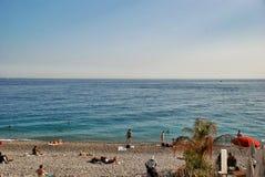 Französisches Riviera, Stadtstrand in Nizza Frankreich Stockfotos