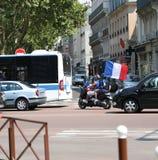 Französisches Versailles-Fan moto des Fußballfans am 15. Juli abschließendes stockfoto