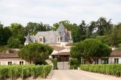 Französisches Weinberg-Chateau Stockfoto