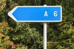 Französisches Zeichen der Autobahn A6 Stockfotos