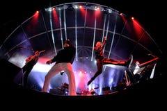 Franz Ferdinand e le scintille, legano anche conosciuto come FFS, di concerto al festival FIB Fotografie Stock