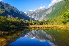 Franz Josef glaciär och sjö, Nya Zeeland arkivfoto
