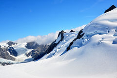 Franz Josef Glacier snow landing. Franz Josef Glacierview from a helicopter, New Zealand Stock Photography
