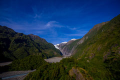 Franz Josef Glacier and valley floor, Westland, South Island, New Zealand Stock Photography