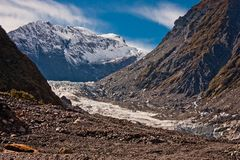 Franz Josef Glacier in Westland, New Zealand. Famous Franz Josef Glacier in Westland as one of the most visited site in New Zealand stock photography