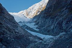 Franz Josef Glacier in Westland region in New Zealand. Famous touristic attraction - Franz Josef Glacier in Westland region, in New Zealand royalty free stock photography