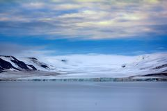 Franz Josef Land - glaciers. Arctic landscape. 900 km from North Pole. Franz Josef Land - glaciers in Strait of Booth and American Strait. Well expressed glacial stock image