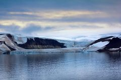 Franz Josef Land - glaciers. Arctic landscape. 900 km from North Pole. Franz Josef Land - glaciers in Strait of Booth and American Strait. Pronounced icefall ( stock image