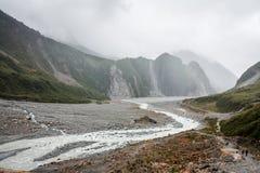 Franz Joseph Glacier flodbälte Arkivbild