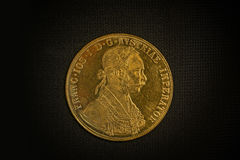 Franz Joseph I, Austro-Hungarian golden ducat from 1915-Avers Stock Photos