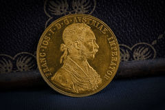 Franz Joseph I, Austro-Hungarian golden ducat from 1915-Avers Stock Image
