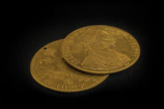 Franz Joseph I, Austro-Hungarian golden ducats from 1915 Royalty Free Stock Photo