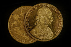 Franz Joseph I, Austro-Hungarian golden ducats from 1915 Royalty Free Stock Images