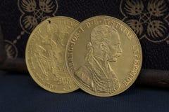 Franz Joseph I, ducados de oro austrohúngaros a partir de 1915 Imagen de archivo libre de regalías