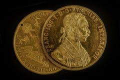Franz Joseph I, ducati dorati austro-ungarici dal 1915 Immagini Stock Libere da Diritti