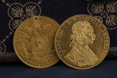 Franz Joseph I, ducats d'or austro-hongrois à partir de 1915 Image stock
