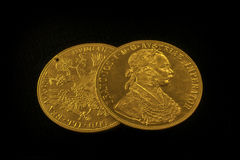 Franz Joseph I, ducats d'or austro-hongrois à partir de 1915 Photographie stock libre de droits