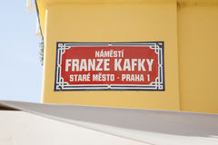 Franz Kafka - Franze Kafky Street Sign, Stare Mesto Neighborhood Stock Photography