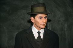 Franz Kafka in Grevin museum of the wax figures in Prague. Prague, Czech republic, July 22, 2017: Franz Kafka in Grevin museum of the wax figures in Prague royalty free stock photos