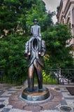 Franz Kafka`s statue in prague. Prague bronze statue of writer Franz Kafka,from sculptor Jaroslav Rona Royalty Free Stock Photo