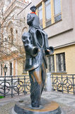 Franz Kafka statue by Jaroslav Rona. PRAGUE,CZECH REPUBLIC.- April 18,2016: Franz Kafka statue by Jaroslav Rona located next to the Spanish Synagogue in Jewish royalty free stock image