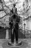 Franz Kafka statue. Jewish Quarter, Prague stock photo