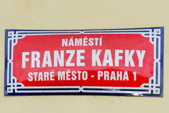 Franz Kafka Street Sign - Prague, Czech Republic. Franz Kafka Street Sign in Prague, Czech Republic royalty free stock photo