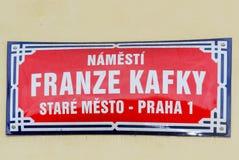 Franz Kafka Street Sign - Prague, Tjeckien Royaltyfri Foto
