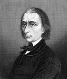 Franz Liszt. (1811-1886) on engraving from 1859. Hungarian composer, pianist, conductor and teacher. Engraved by unknown artist and published in Meyers Royalty Free Stock Photo