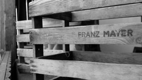 Franz Mayer Engraved Wooden Pallet Royalty Free Stock Photo