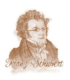 Franz Schubert Engraving Style Sketch Portrait Stock Images