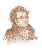 Franz Schubert gravant la verticale de croquis de type Images stock