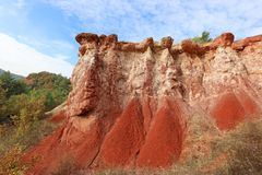 Franz?sische geologische Bildung aufgestellt in Auvergne, Frankreich stockbilder