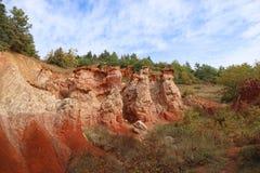 Franz?sische geologische Bildung aufgestellt in Auvergne, Frankreich lizenzfreies stockbild