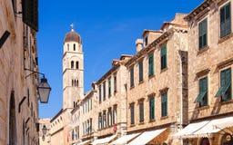 Franziskanerglockenturm Dubrovniks Stradun Stockfotos