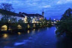 Franziskanerkirche door Mur River Royalty-vrije Stock Foto's